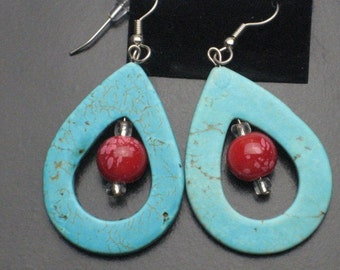 Turquoise Teardrop and Ruby Beaded Earrings