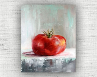 Red Painting Print of Still Life Oil Painting Home Decor Wall Art - Vegetable Kitchen Food Room Decor, Cottage Style Dining Room Art Print