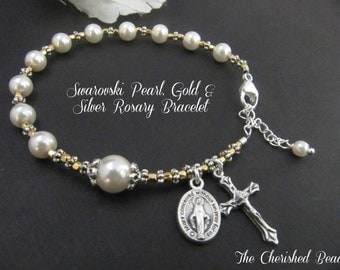 Swarovski Pearl, Gold and Silver Rosary Bracelet