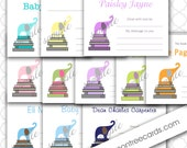 Elephant on Books bookplate Label / color choice / digital or printed / great baby shower idea, baby shower book stickers