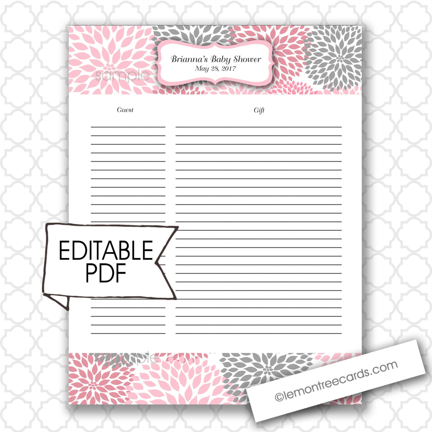 Editable baby shower gift list and guest list girl baby for Wedding shower gift list template