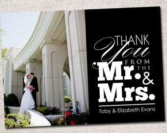 "Wedding Photo Thank You Card: PRINTABLE (""Mr and Mrs"" Wedding Thank You Photo Card)"