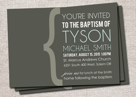 Boy/Girl Printable Baptism, Christening Invitation/Announcement (You're invited)