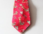 fall sale // Vintage 80s Fling Christmas Novelty Them Neck Tie - red, Santa and Reindeer, Made in America