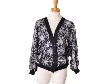 Vintage 80s Snowflake Cardigan Dolman Sleeve Sweater - Women M by It's Jack - black white, ugly christmas