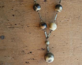 Antique Art Deco 1920s ocean jasper enamel necklace