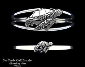 Sea Turtle Bracelet Sterling Silver Sea Turtle Cuff Bracelet Handmade