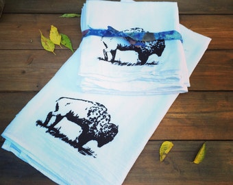 Bison screen printed dish towel on 100% cotton