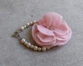 Ivory Pearl Bracelet with Blush Velvet Flower