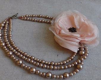 Rose Pearl Necklace with Blush Satin & Organza Flower