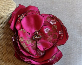 Flower Brooch or Hair Clip in Magenta & Gold Brocade