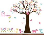 Nursery Vinyl Tree Decal Nursery Wall Stickers Colorful Tree Owl Wall Decal Custom Monogram
