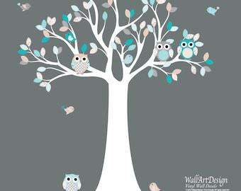 Vinyl Wall Decal  Nursery Tree Decal, Patterned Leaves Wall Art, Nursery Art, Babys Nursery Art, Owl Tree Decal