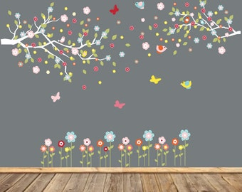 Vinyl Wall Decal  Children's Tree Decal Nursery Wall Stickers Blue and Green Tree Owl Wall Decal