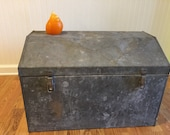 INDUSTRIAL STEEL DOMED Trunk 1940's Industrial Decor Shop Display Handcrafted Father's Day Shop Photo Prop Mid Century at Modern Logic
