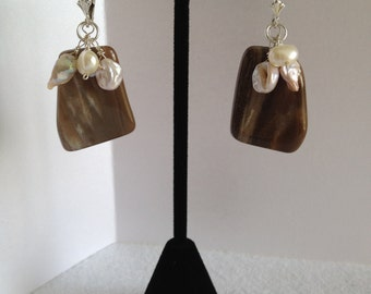 Petrified Wood and Keishi Pearl Earrings in Sterling Silver