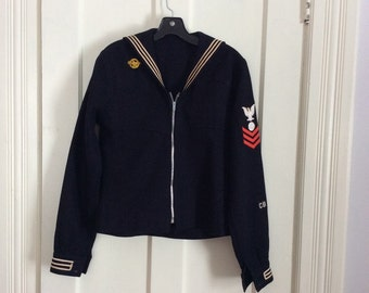 Vintage WW2 USN Navy Shirt with Patches Altered Customized Zipper Added Sailor Anchor size small to medium