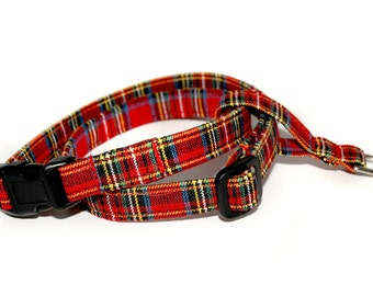 The Figure 8 Cat Harness in Red Plaid with your choice of red, green or black buckle colour