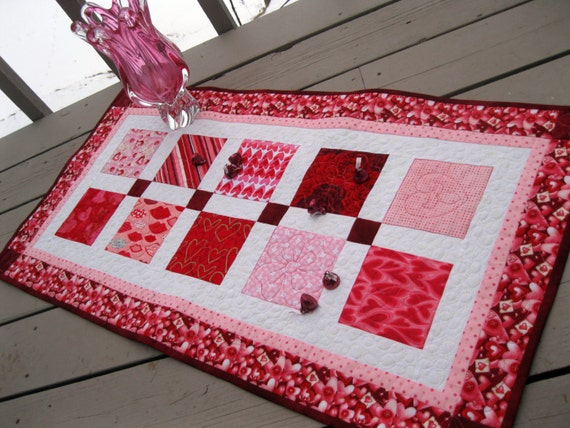 RESERVED Valentine Charmer 19x37 quilted table runner in pink, red and white
