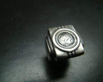 Classic Sterling Silver Deco style large crest ring