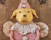 Yellow Lab Circus Clown Angel,OOAK, hand-sculpted from paper mache, LAB CIRCUS Clown
