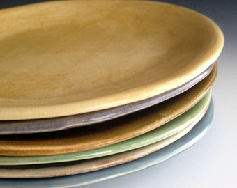 NEW Earthy colors, Set of Six Side or dessert plates, organic plates, Stoneware Dinnerware by Leslie Freeman