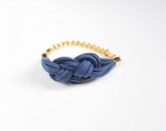 Navy Blue Knot Bracelet / Sailor Knot Bracelet / Suede Cord / Nautical Jewelry / Jewelry Under 50 / Gifts For Her / Bridesmaids Gift