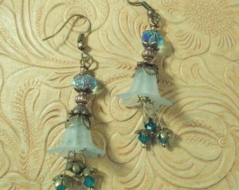 Woodland Flower Earrings - Soft Blue Blossoms with Brass and Crystal Stamens