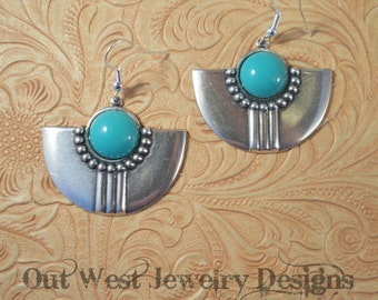 Rodeo Cowgirl Earrings Turquoise Opaque Glass Southwest Style Sterling Earwires