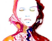 Prints of Watercolour Fashion Illustration. Titled - Heartink 2