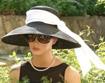 Audrey Hepburn Hat, Breakfast at Tiffany's Hat, Wide Brim Hat, Kentucky Derby Hat, Ascot Hat, Black & White Hat, Wedding Hat, Formal Hat
