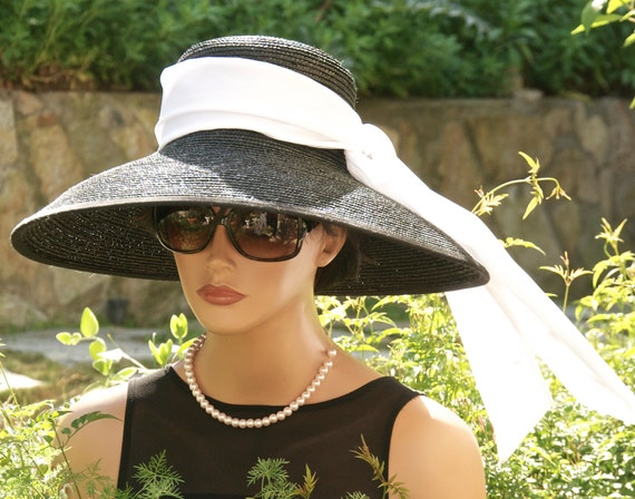 Audrey Hepburn Hat, Breakfast at Tiffany's Hat, Wide Brim Hat, Kentucky Derby Hat, Ascot Hat, Black & White Hat, Wedding Hat, Formal Hat