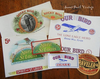 Vintage cigar box labels Lot of 7 brilliantly colored and some gold embossed