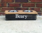 Raised Dog  Stand Personalized Small Two Tone -6 '' Tall - 2  1 Quart Bowls