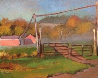 "Original Acrylic Landscape painting-  Foggy Morning -   9"" x 12"""