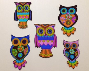 SALE*Set of 5 Owl Appliques*Handmade*Alice Kennedy Designer Fabric/262