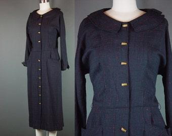 50s Dress Vintage 1950s Button Front Black Red Fleck Platter Collar Day Dinner Career M 10
