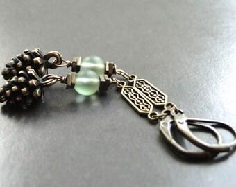Dangle Earrings Pine Cone Earrings, Brass Lever Backs, Holiday Earrings, Brass Fancy Chain, Textured Brass Chain Glass Earrings Accessories