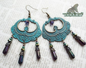 Carnivale ~ Bohemian Gypsy Chandelier Earrings ~ Aged Patina with aqua and purple czech glass