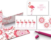 pink flamingo cards | valentine cards for kids | flamingo valentine day cards | printable valentine cards