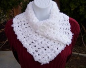 NECK WARMER SCARF Buttoned Cowl Solid Pure White, Soft Acrylic Thick Bulky Crochet Knit Scarflette, White Buttons..Ready to Ship in 2 Days