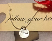 Follow your heart handstamped necklace