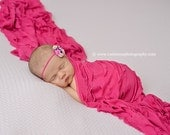 Ruffle Stretch Fabric Wrap Fuschia Newborn Photography Prop Posing Swaddle
