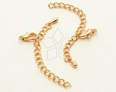 SL-017-RG / 20 set - Extender Chains with a Lobster Clasp for Chain Necklace, Rose Gold Plated / 50mm