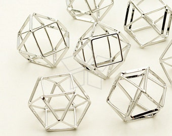 PD-927-OR / 2 Pcs - Polyhedron Ball Pendant, Silver Plated over Brass / 20mm