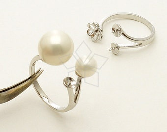 RR-014-OR / 2 Pcs - Flower Triple Pearl Cups Ring Base (Adjustable), Silver Plated over Brass / Free Size