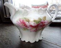 M. Z. Austria. Porcelain Creamer White with Pink Flowers Home and Garden Kitchen and Dining Serve Ware Tableware