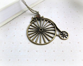 Old Fashioned Bicycle necklace, Long Traditional Bicycle necklace, Smokey Topaz