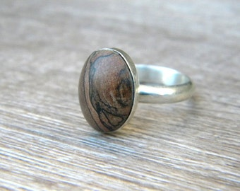 Wood Ring, Wood and Silver, Sterling Silver Ring, Wooden Ring, Stablized wood