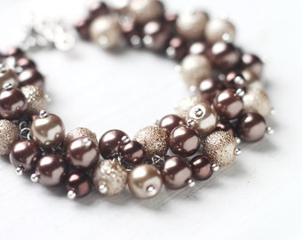 Brown Bridesmaid Jewelry, Pearl Cluster Bracelet - Dark Brown for Fall Weddings